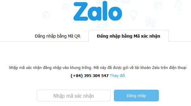 Đăng nhập Zalo bằng mã xác nhận - Không cần QR Code