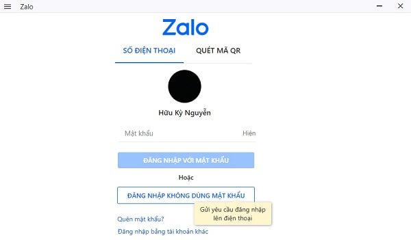 Đăng nhập Zalo bằng chức năng không dùng mật khẩu - Không dùng QR Code
