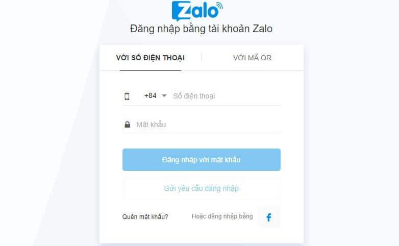 đăng nhập zalo với số điện thoại và mật khẩu